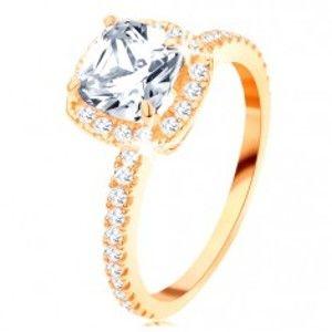 Zlatý prsten 585 - blýskavý kulatý zirkon v ozdobném kotlíku, třpytivé linie GG113.14/20