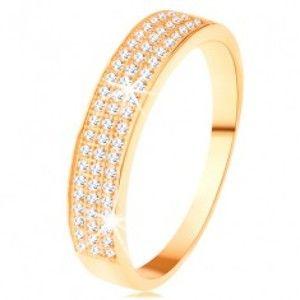 Zlatý prsten 585 - širší pás vykládaný třemi liniemi čirých zirkonků GG111.48/49