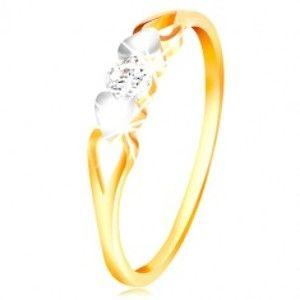 Zlatý prsten 585 - srdíčka z bílého zlata, výřezy a čirý zirkon uprostřed GG212.60/66