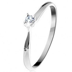 Zlatý prsten 585 - třpytivý čirý diamant v čtyřcípém kotlíku, bílé zlato BT153.60/64