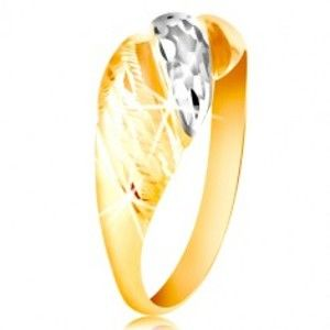 Zlatý prsten 585 - vypouklé pásy žlutého a bílého zlata, blýskavé rýhy GG212.28/34