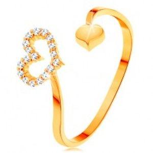 Zlatý prsten 585 - zvlněná ramena ukončená obrysem srdce a plným srdíčkem GG154.36/42