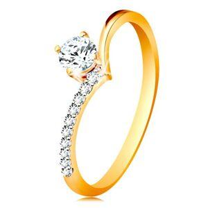 Zlatý prsten 585 - ramena zahnutá do špičky a zirkon čiré barvy v kotlíku - Velikost: 51