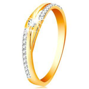 Zlatý prsten 585 - rozdělené linie ramen, třpytivé pásy a čirý zirkon - Velikost: 51