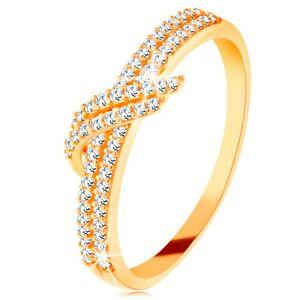 Zlatý prsten 585 - třpytivé linie čirých zirkonků, dvojitá vlnka - Velikost: 51