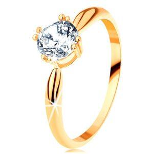 Zlatý zásnubní prsten 585 - zaoblená ramena, zářivý kulatý zirkon čiré barvy - Velikost: 54