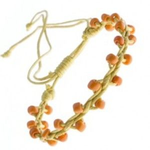 Žlutý náramek přátelství - lesklé oranžové korálky Z11.6
